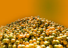 Oranges are kept for selling in the market in Indian summer season. Stock Photos
