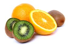 Oranges and kiwi Stock Images