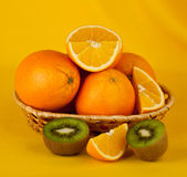 Oranges and kiwi Royalty Free Stock Images