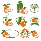 Oranges labels and elements set. Vector Royalty Free Stock Photos