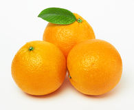 Oranges with leaf Royalty Free Stock Images