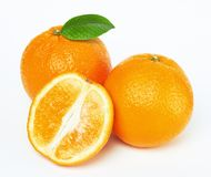 Oranges with leaf Royalty Free Stock Photos