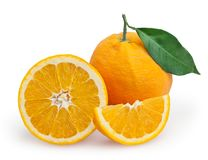 Oranges with leaf isolated on white Royalty Free Stock Image