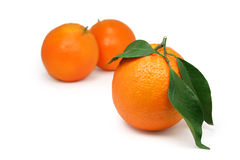 Oranges with leaves. Organically grown oranges with leaves Royalty Free Stock Images