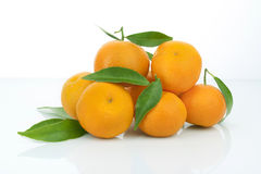 Oranges with leaves Stock Photography