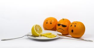 Oranges with  lemon Stock Photos