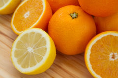 Oranges and lemon with slices Stock Photo