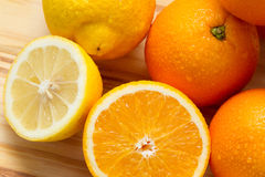 Oranges and lemon with slices Stock Photos