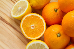 Oranges and lemon with slices Stock Image