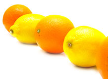 Oranges and lemons. The ripe whole oranges and yellow lemons on white, shallow DOF. Isolation Royalty Free Stock Photos