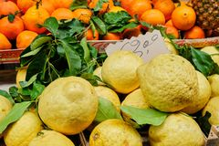 Oranges, Lemons, fruits and Vegetable at Street Markt. Fresh oranges, lemons, fruits and vegetables on a street market in Sorrento, Italy. In stock images