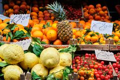 Oranges, Lemons, fruits and Vegetable at Street Markt. Fresh oranges, lemons, fruits and vegetables on a street market in Sorrento, Italy royalty free stock photography