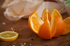 Oranges and lemons - healthy vitamins for breakfast 6. Cituses - great combination for a day start Royalty Free Stock Photos