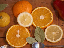 Oranges and lemons - healthy vitamins for breakfast 7. Cituses - great combination for a day start Royalty Free Stock Image