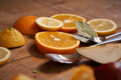 Oranges and lemons - healthy vitamins for breakfast 8 Royalty Free Stock Photography