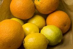 Oranges, lemons and limes. Fresh market oranges, lemons and limes in a brown recycled paper shopping bag Royalty Free Stock Photography