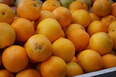 Oranges lie on the counter in the fruit market in Spain Royalty Free Stock Images