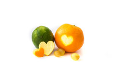 Oranges and lime on white background Royalty Free Stock Images