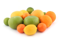 Oranges, limes, grapefruits. Citrus fruits - oranges, limes, lemon, tangerine, grapefruits on white background stock image
