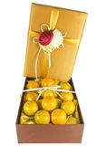 Oranges in luxury give box. Many fresh oranges in luxury give box Royalty Free Stock Image