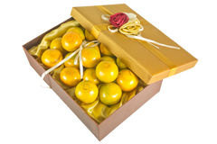 Oranges in luxury give box. Many fresh oranges in luxury give box Royalty Free Stock Photos