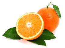 Oranges mûres avec la lame verte. Photos libres de droits