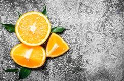 Oranges mûres avec les lames vertes Image stock