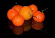 Oranges and mandarins on black background Stock Photo