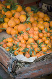 Oranges at market Maroc. Oranges are sold from an old cart in Morocco Royalty Free Stock Photography