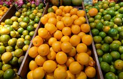 Oranges on market stall fruit stock photography
