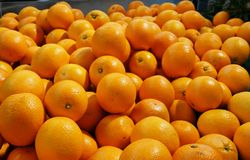 Oranges on market stall fruit royalty free stock photography