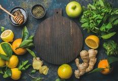 Free Oranges, Mint, Lemons, Ginger, Honey, Apple, Wooden Board In Center Stock Images - 82903104