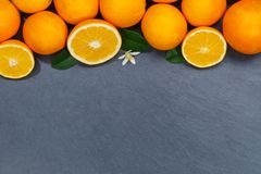 Oranges orange fruits slate copyspace top view. From above Royalty Free Stock Images