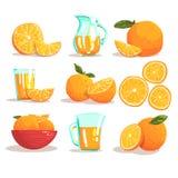 Oranges And Orange Juice Cool Style Bright Illustrations Royalty Free Stock Image