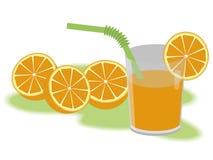 Oranges. Orange juice and oranges on white background Stock Photos
