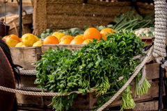 Oranges and parsley on a wagon Royalty Free Stock Photography