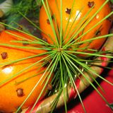 Oranges with pine leaves and cloves stock images
