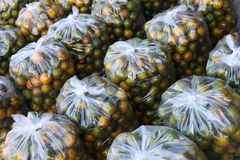 Oranges in plastic bag. Thailand market Royalty Free Stock Images