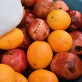 Oranges and pomegranates, Israel Royalty Free Stock Images