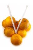 Oranges réelles d'isolement sur le blanc Images stock