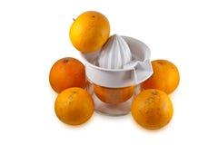 Oranges réelles d'isolement sur le blanc Photo stock