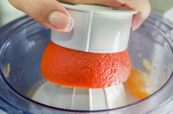 Oranges with Reamer juicer Stock Photography