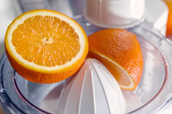 Oranges with Reamer juicer Royalty Free Stock Photography