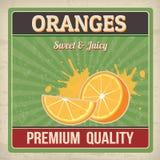 Oranges retro poster royalty free illustration