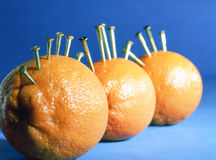 Oranges in a row of three Royalty Free Stock Photos