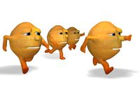 Oranges running Stock Image