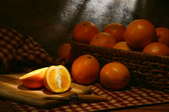 Oranges in Rustic Country Old Style Still Life Royalty Free Stock Photography