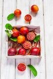 Oranges sanguines juteuses, entier et demi, sur un fond blanc Images libres de droits