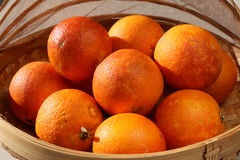 Oranges sanguines organiques fraîches dans une cuvette Photographie stock libre de droits