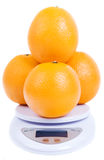Oranges on scale Stock Photography